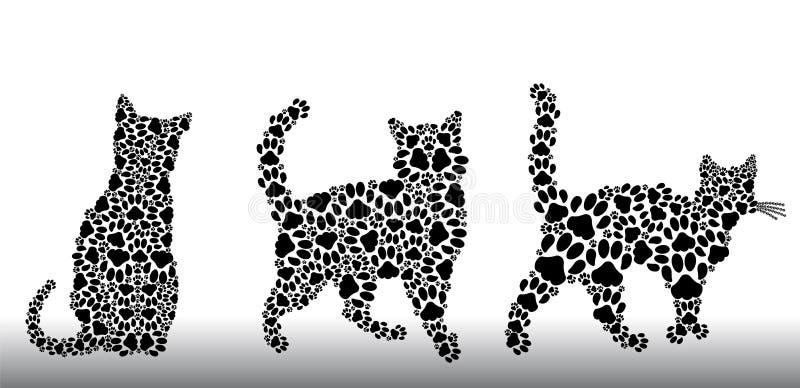Insieme delle siluette dei gatti dalle piste del gatto royalty illustrazione gratis