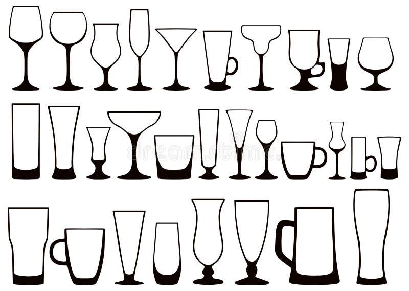 Insieme delle siluette dei vetri differenti per le bevande Vettore illustrazione di stock