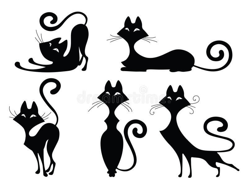 Insieme delle siluette del gatto illustrazione vettoriale