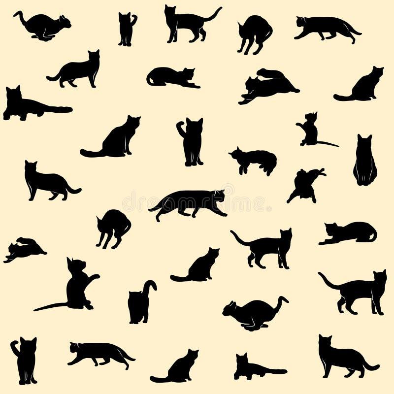 Insieme delle siluette del gatto nero su fondo royalty illustrazione gratis