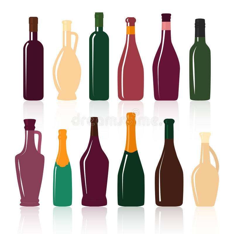 Insieme delle siluette delle bottiglie di vino su un fondo bianco illustrazione di stock