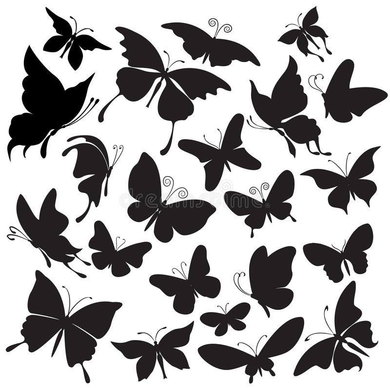 Insieme delle siluette delle farfalle royalty illustrazione gratis