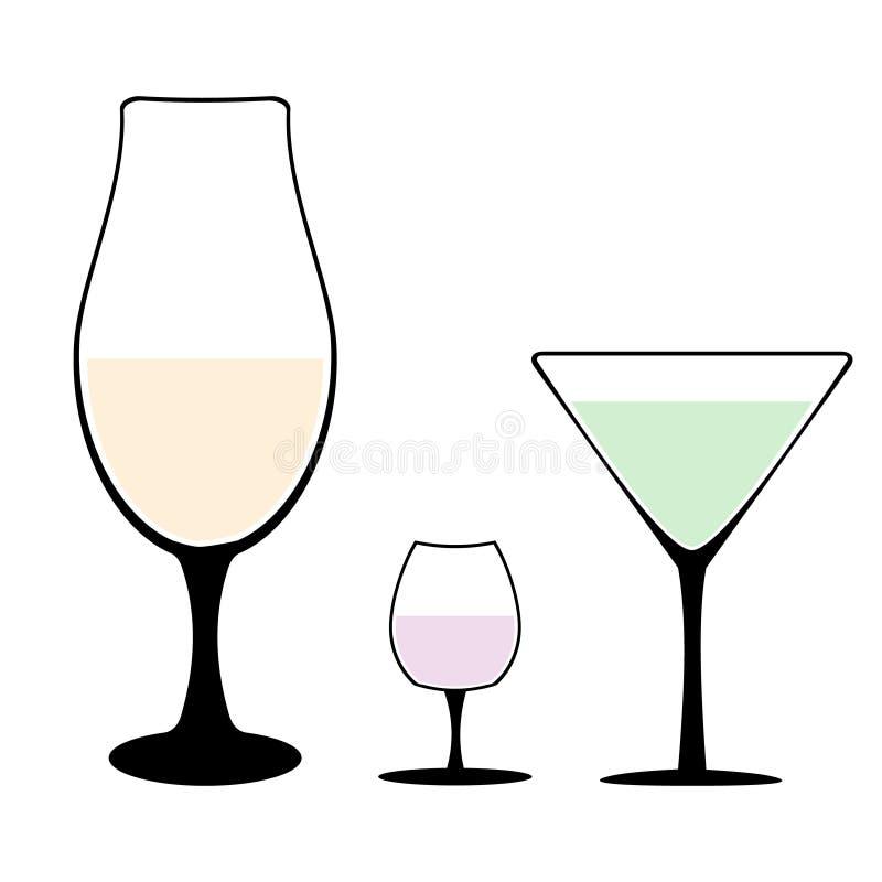 Insieme delle siluette differenti del bicchiere di vino dei calici con vino o delle bevande isolate su fondo bianco Vettore di Al illustrazione di stock