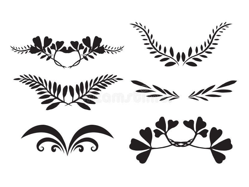 Insieme delle siluette dipinte a mano delle piante illustrazione vettoriale