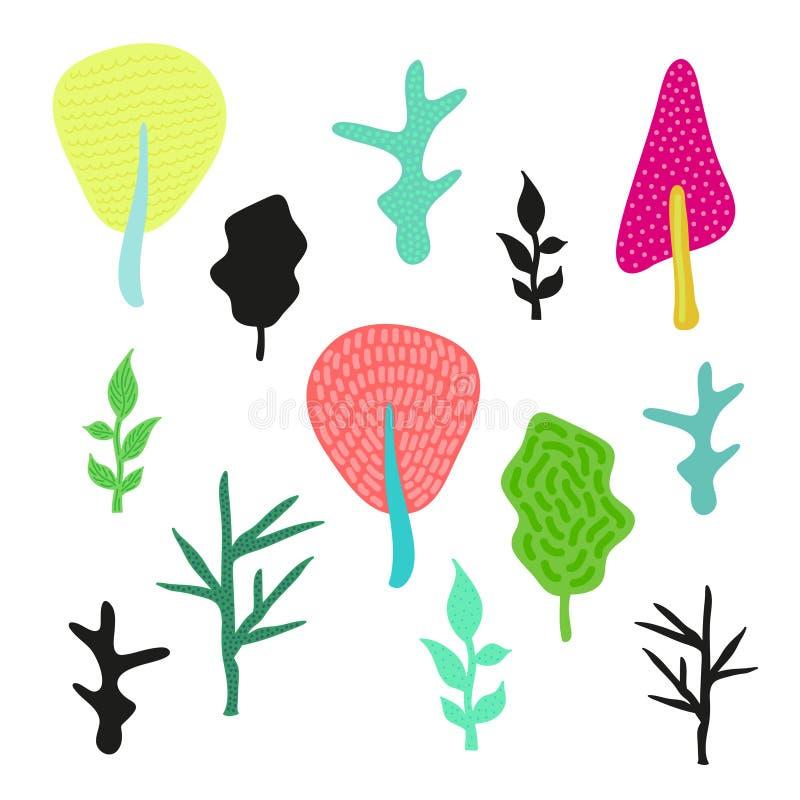 Insieme delle siluette e degli alberi multicolori svegli dipinti a mano fotografia stock libera da diritti