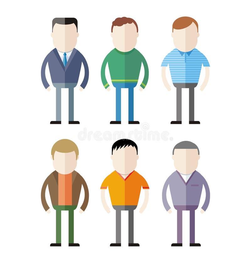 Insieme delle siluette maschii di modo illustrazione vettoriale
