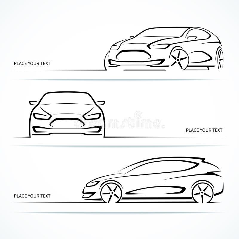 Insieme delle siluette moderne dell'automobile illustrazione di stock