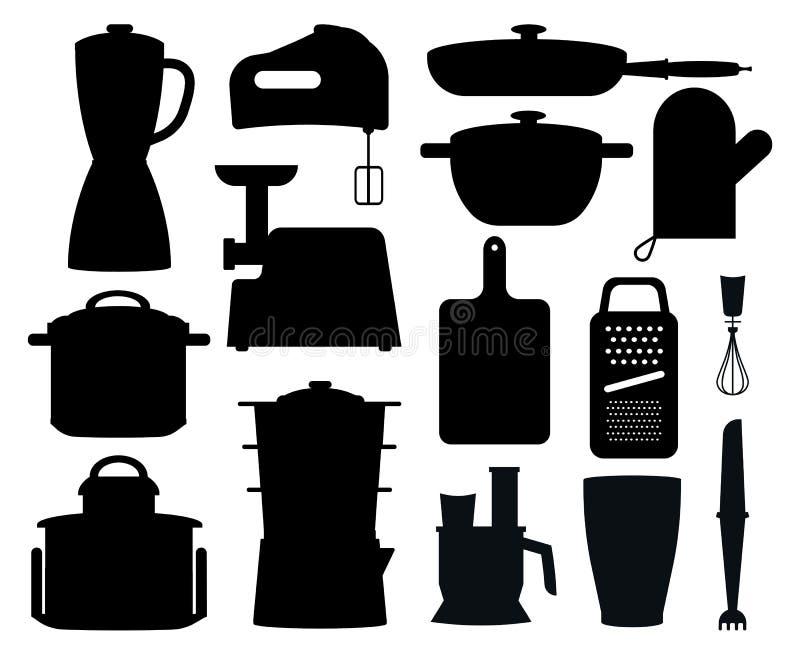 Insieme delle siluette nere degli strumenti della cucina illustrazione vettoriale