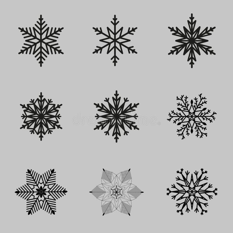 Insieme delle siluette nere dei fiocchi di neve per progettazione illustrazione vettoriale