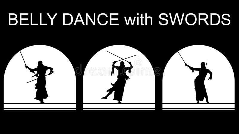 Insieme delle siluette nere di un ballerino orientale in scena con la volta incurvata illustrazione di stock