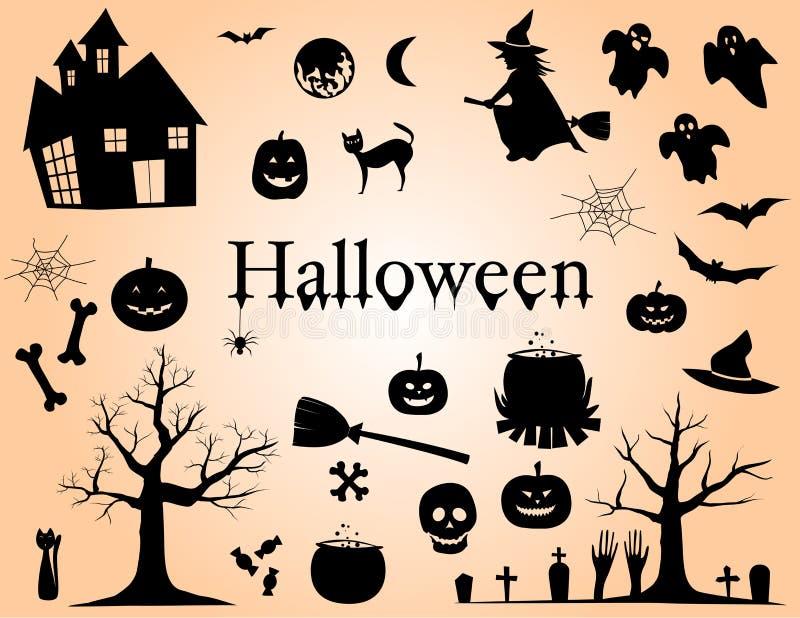 Insieme delle siluette per l'illustrazione di vettore degli elementi di progettazione di Halloween royalty illustrazione gratis