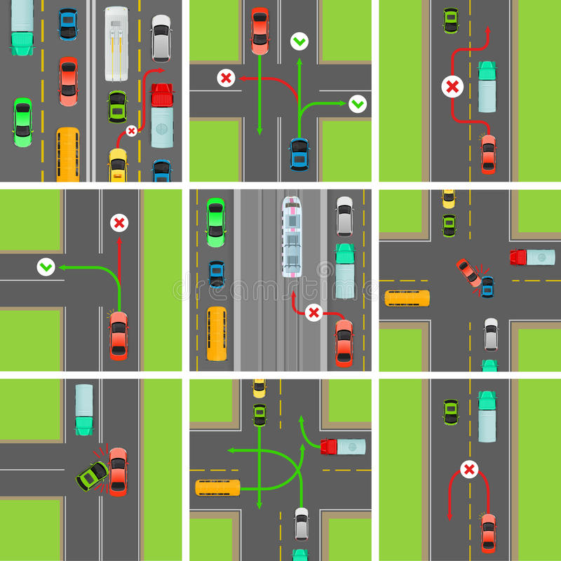 Insieme delle situazioni sulla strada Le leggi di traffico governano illustrazione vettoriale