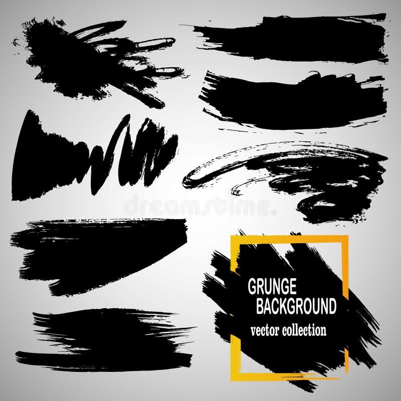 Insieme delle spazzole e degli elementi disegnati a mano di progettazione La pittura nera, colpi della spazzola dell'inchiostro,  illustrazione vettoriale