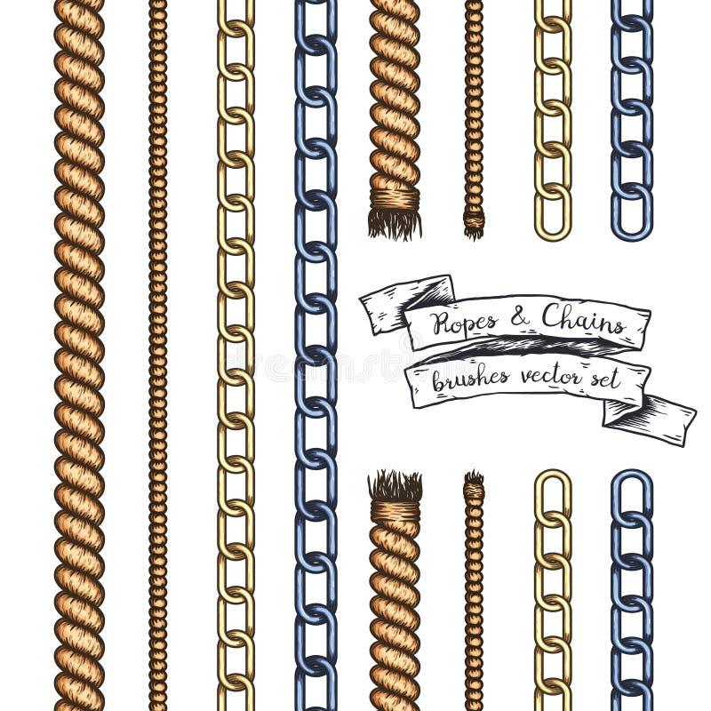 Insieme delle spazzole editabili disegnate a mano delle corde e delle catene royalty illustrazione gratis