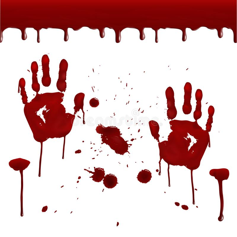 Insieme delle stampe sanguinose realistiche illustrazione vettoriale