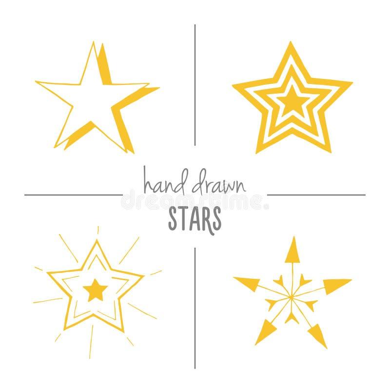Insieme delle stelle disegnate a mano gialle royalty illustrazione gratis