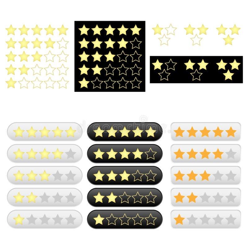 Insieme delle stelle dorate di valutazione illustrazione vettoriale