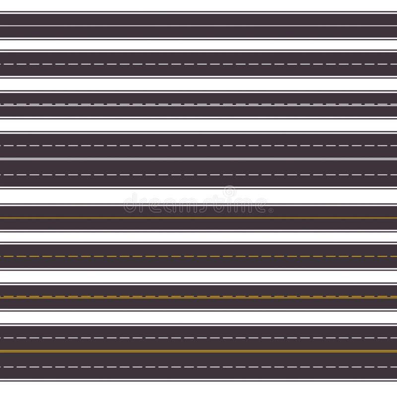 Insieme delle strade principali orizzontali senza cuciture Vista superiore di asphal diritto illustrazione vettoriale