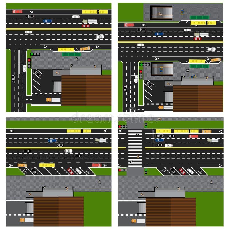 Insieme delle strade, strade principali, vie, con un negozio crossroads Fermata dell'autobus Con differenti automobili, parcheggi illustrazione vettoriale