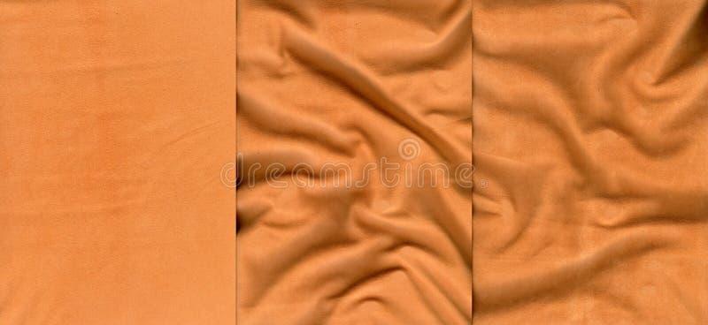 Insieme delle strutture arancio della pelle scamosciato immagini stock libere da diritti