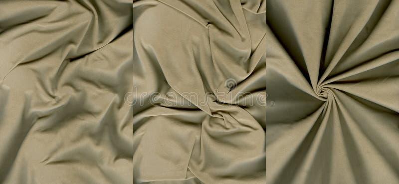 Insieme delle strutture arancio grigiastre arruffate della pelle scamosciato immagine stock