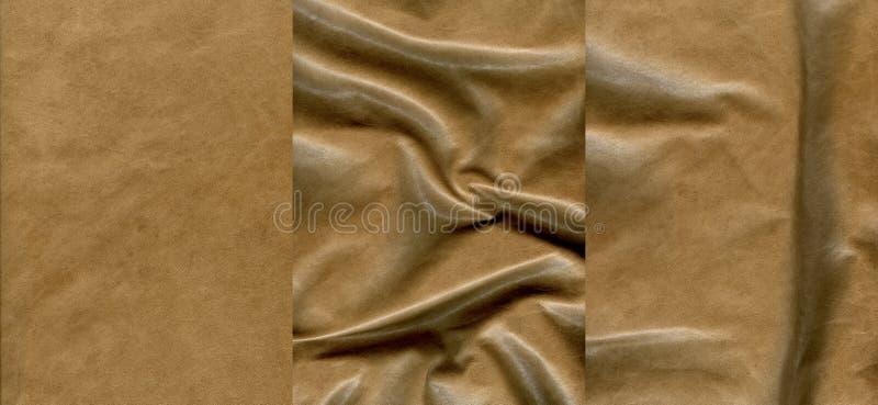 Insieme delle strutture di cuoio marrone chiaro immagine stock libera da diritti