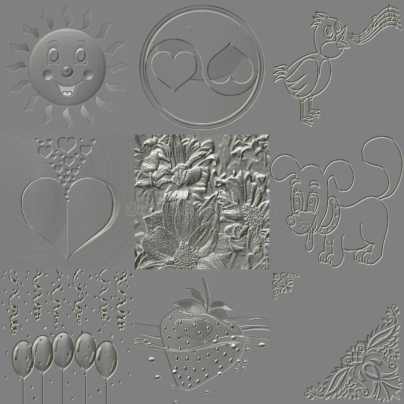 Insieme delle strutture generate sollievo del metallo illustrazione vettoriale