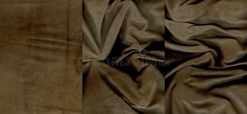 Insieme delle strutture marroni arruffate della pelle scamosciato fotografia stock