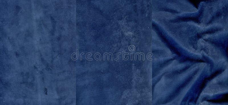 Insieme delle strutture molto blu scuro della pelle scamosciato immagine stock
