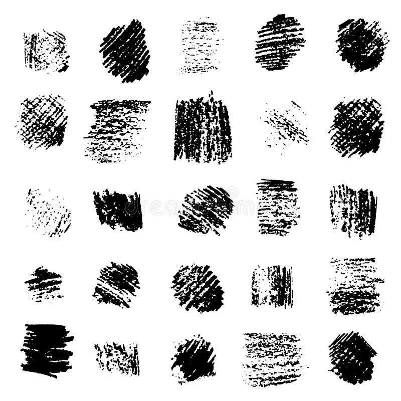Insieme delle strutture quadrate graffiate lerciume nero royalty illustrazione gratis