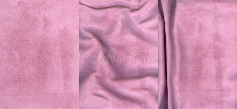 Insieme delle strutture rosa della pelle scamosciato fotografia stock libera da diritti