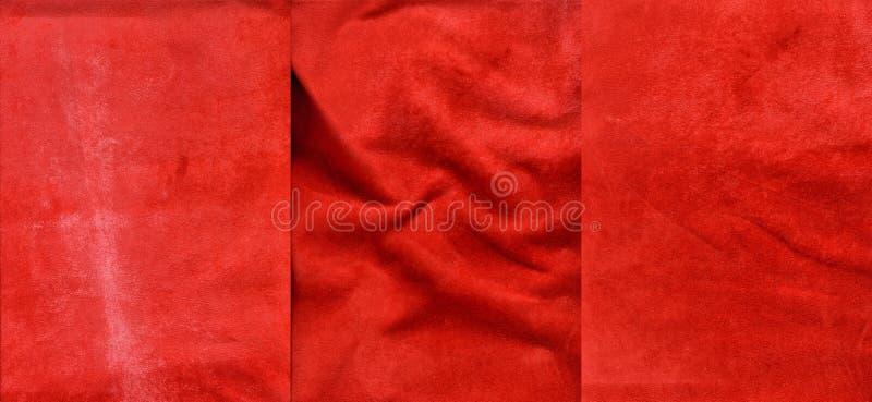 Insieme delle strutture rosse della pelle scamosciato fotografie stock libere da diritti