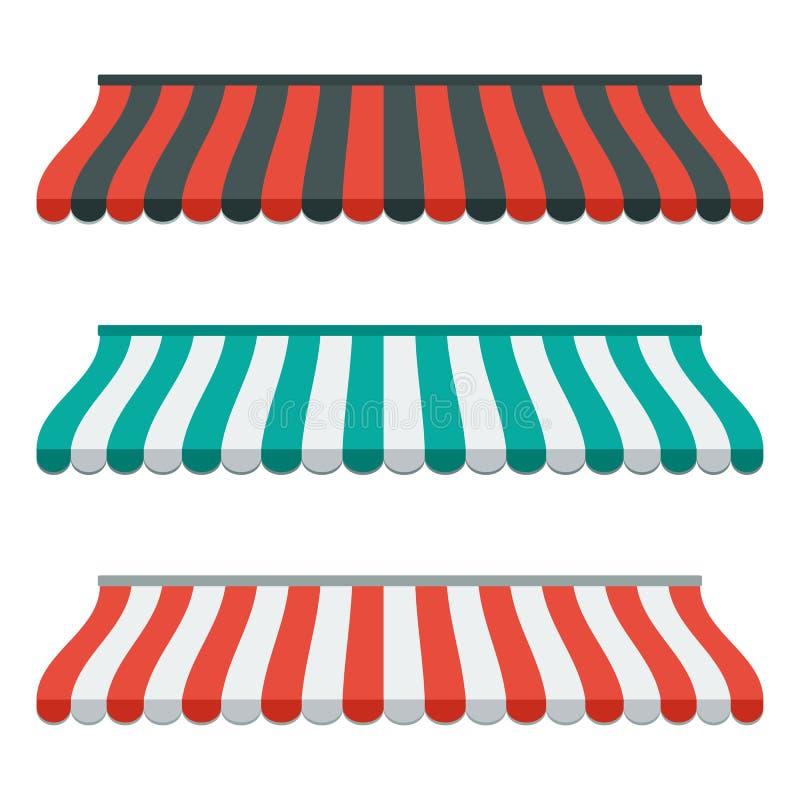 Insieme delle tende a strisce per il negozio ed il mercato Isolato e variopinto Progettazione piana Vettore royalty illustrazione gratis