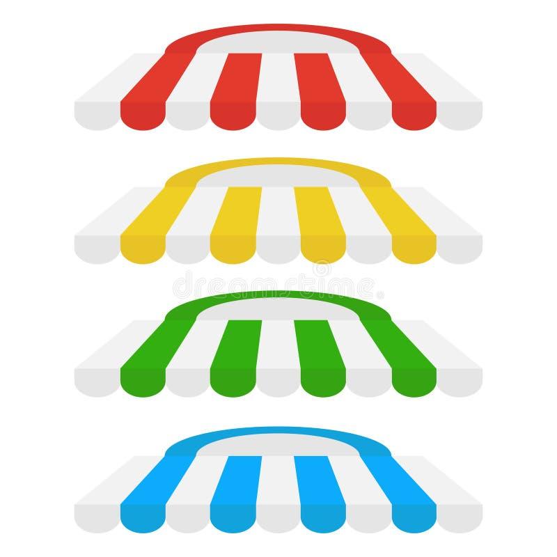 Insieme delle tende a strisce per il negozio ed il mercato illustrazione di stock