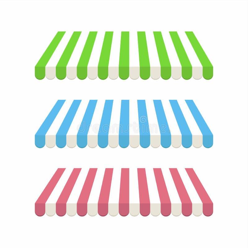 Insieme delle tende a strisce variopinte per il negozio ed il mercato illustrazione vettoriale