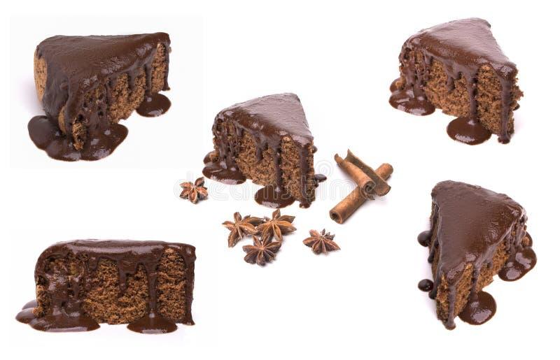 Insieme delle torte del cioccolato isolate su fondo bianco immagine stock libera da diritti