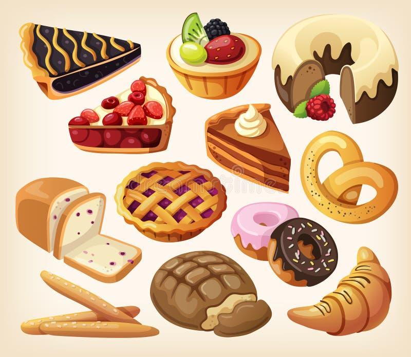 Insieme delle torte e dei prodotti della farina illustrazione di stock
