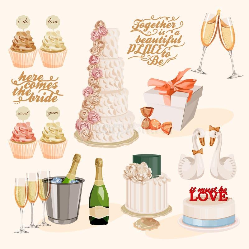 Insieme delle torte nunziali decorate variopinte, dell'inceppamento e dei bigné di strato di vettore illustrazione vettoriale