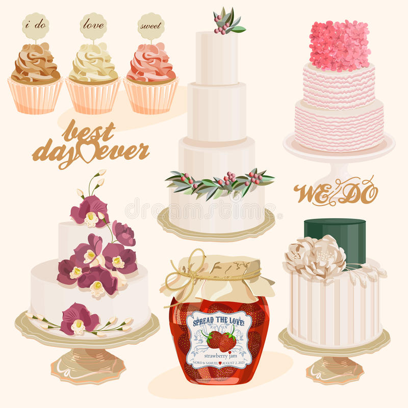 Insieme delle torte nunziali decorate variopinte, dell'inceppamento e dei bigné di strato di vettore illustrazione di stock