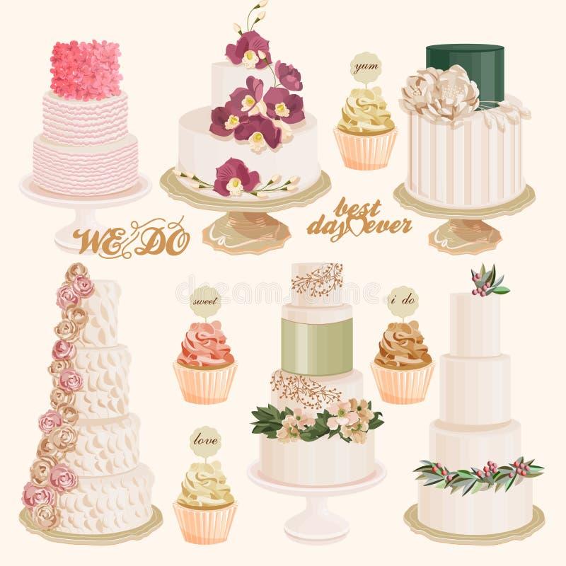 Insieme delle torte nunziali decorate variopinte e dei bigné di strato di vettore illustrazione vettoriale