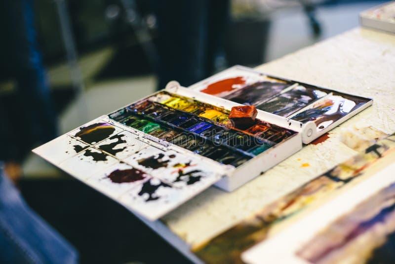 Insieme delle vernici dell'acquerello immagine stock libera da diritti