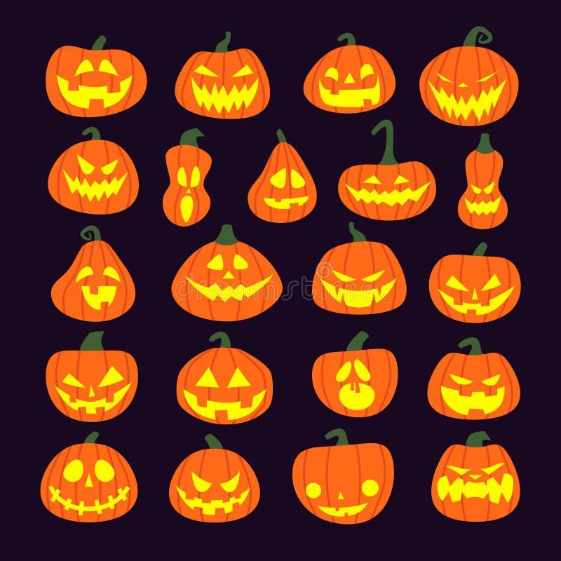 Zucche Di Halloween Terrificanti.Insieme Delle Zucche Spaventose Di Halloween Zucche Terrificanti