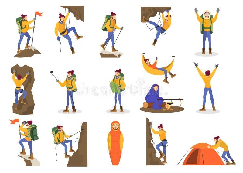 Insieme dello scalatore Alpinismo dell'uomo con un'attrezzatura speciale illustrazione di stock