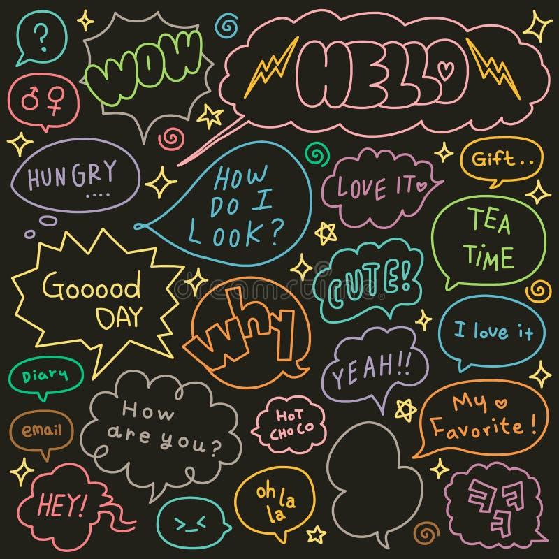 Insieme dello scarabocchio disegnato a mano delle bolle di pensiero e di discorso illustrazione di stock