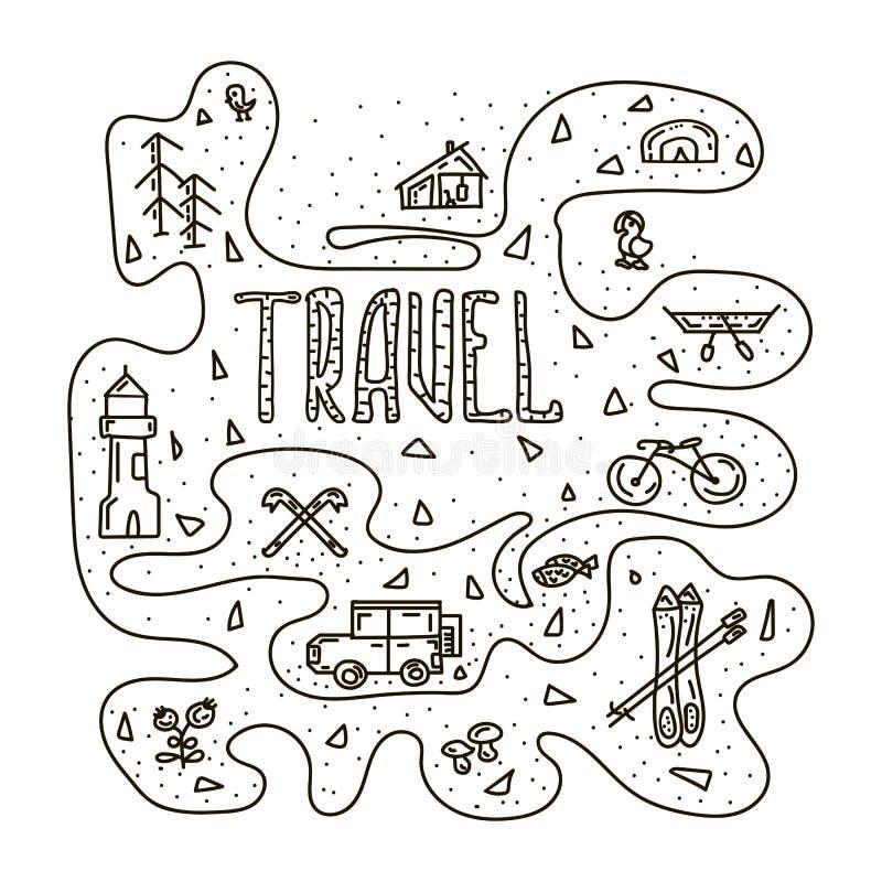 Insieme dello scarabocchio disegnato a mano di viaggio Illustrazione di vettore illustrazione di stock