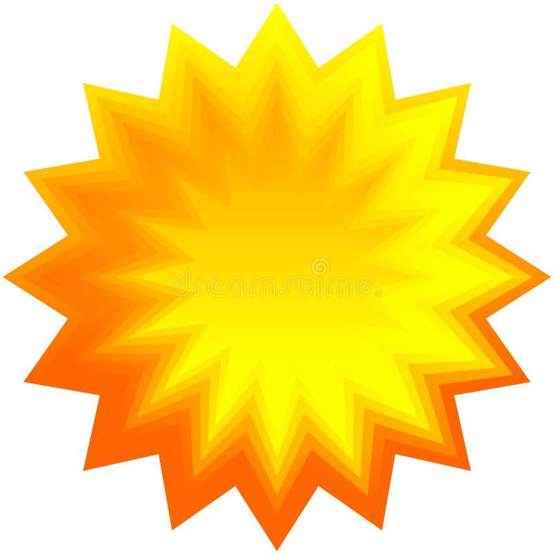 Insieme dello sprazzo di sole geometrico arancio, fondo dello starburst illustrazione di stock
