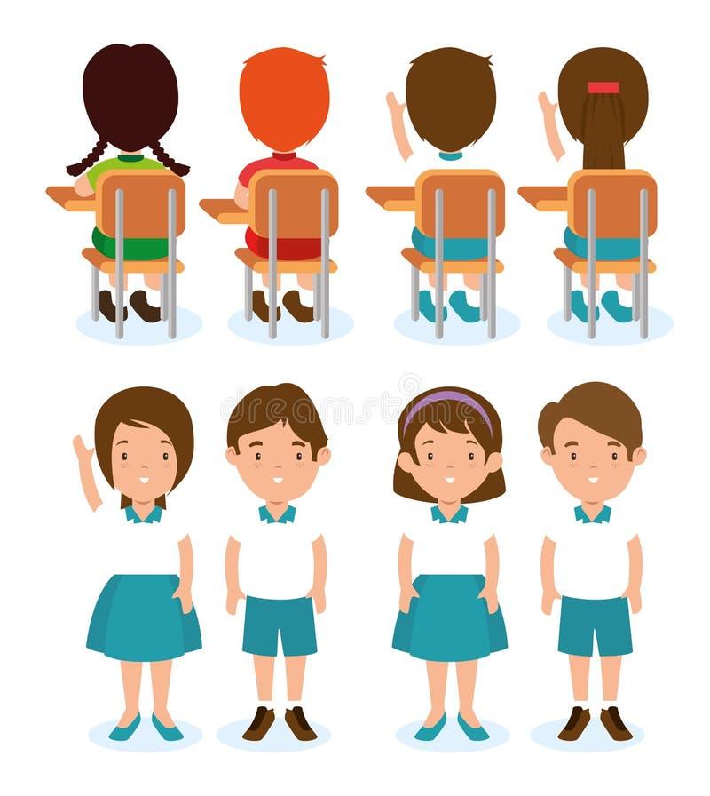 Insieme dello studente dei bambini illustrazione di stock