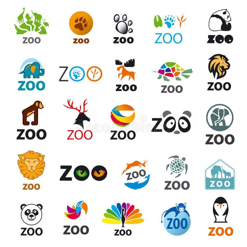 Insieme dello zoo del logos di vettore illustrazione di stock