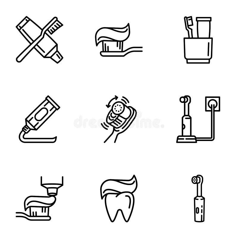 Insieme dentario dell'icona di cura del dente, stile del profilo illustrazione di stock