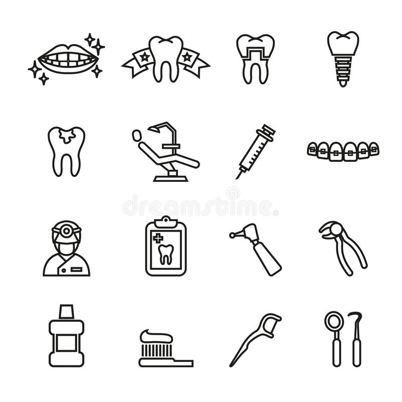 Insieme dentario e medico dell'icona Linea vettore delle azione di stile royalty illustrazione gratis